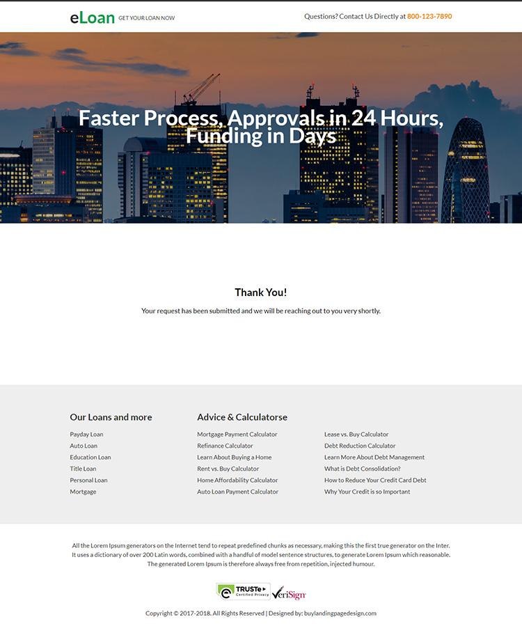 responsive e-loan mini video landing page design