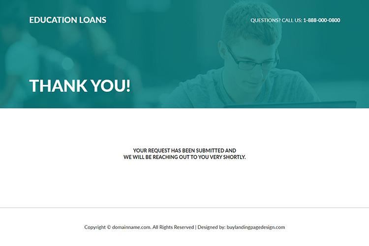 education loan responsive lead capture landing page design