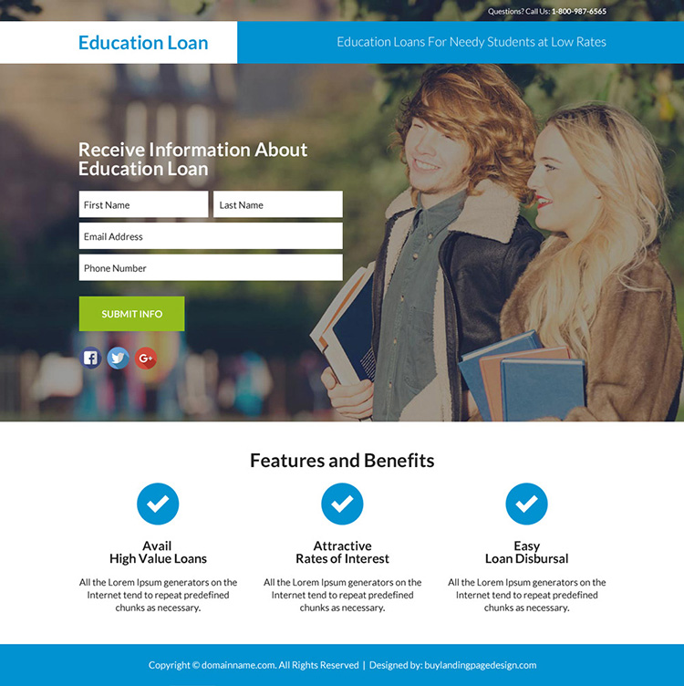 education loan responsive lead funnel landing page