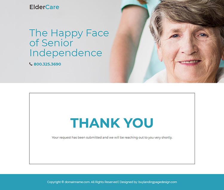 elderly care services for senior responsive landing page