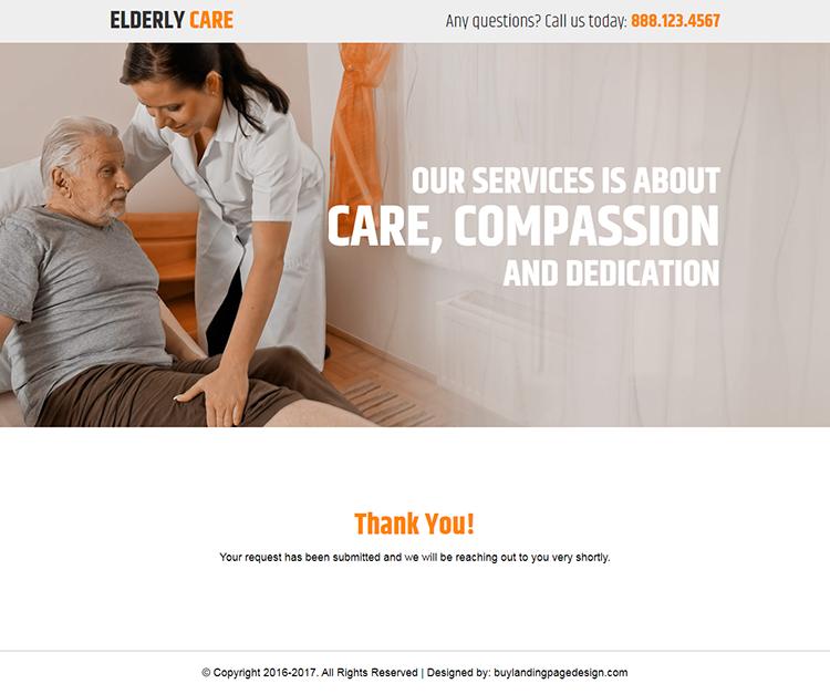 elderly care service responsive landing page design