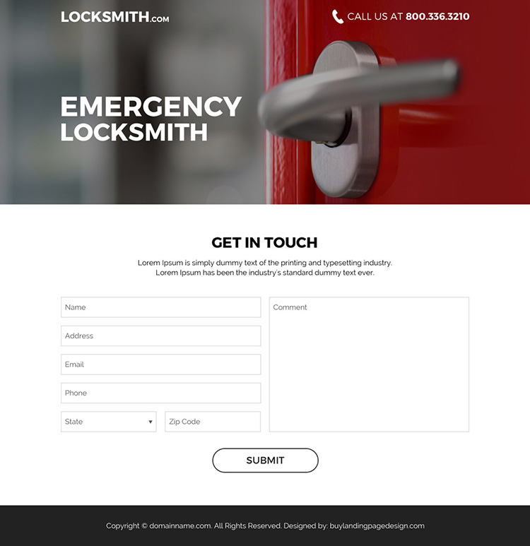 emergency locksmith service bootstrap landing page