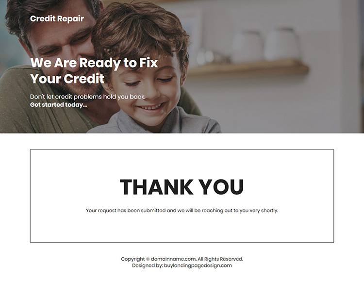 credit repair service lead capture landing page