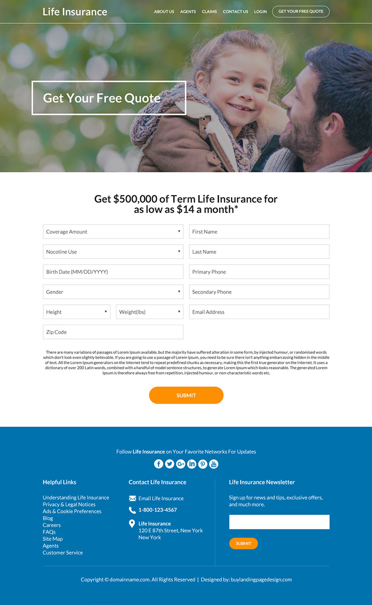 term life insurance free quote lead capturing website design