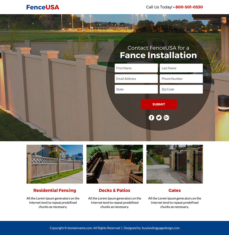 fencing service free estimate lead funnel landing page design