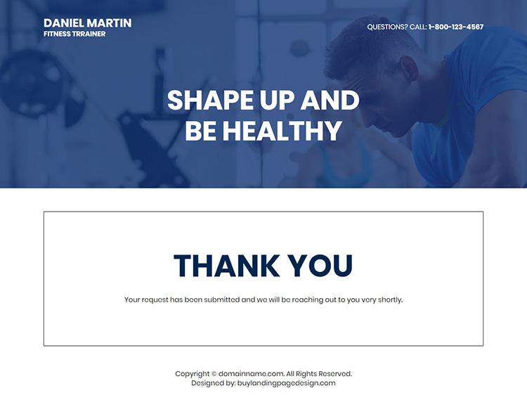 fitness trainer lead capture responsive landing page design