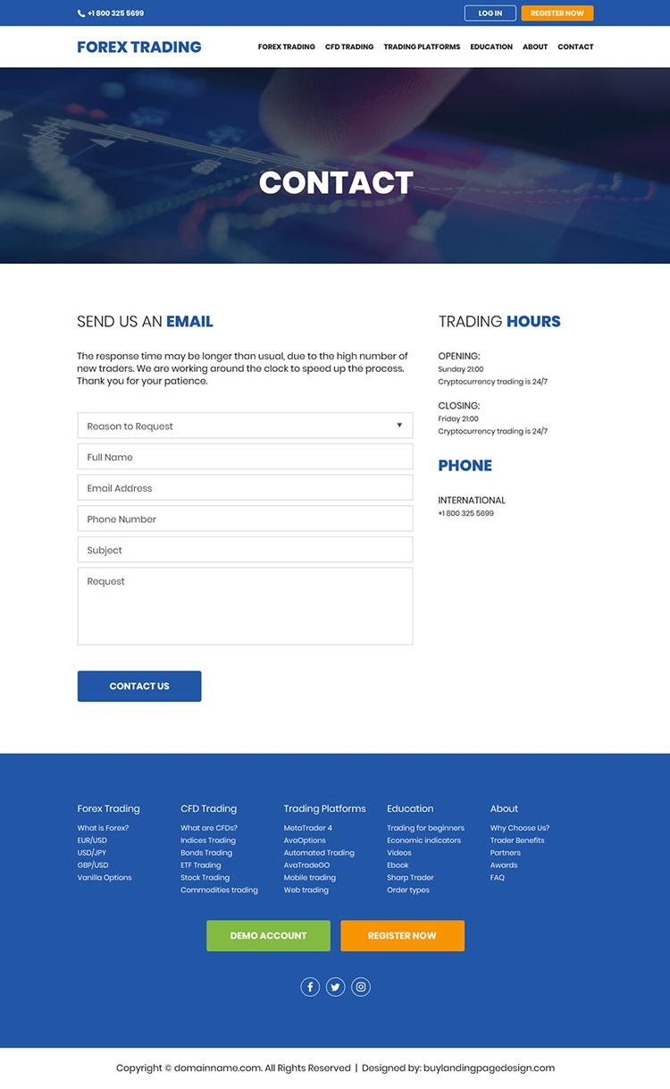 professional forex trading sign up capturing website design