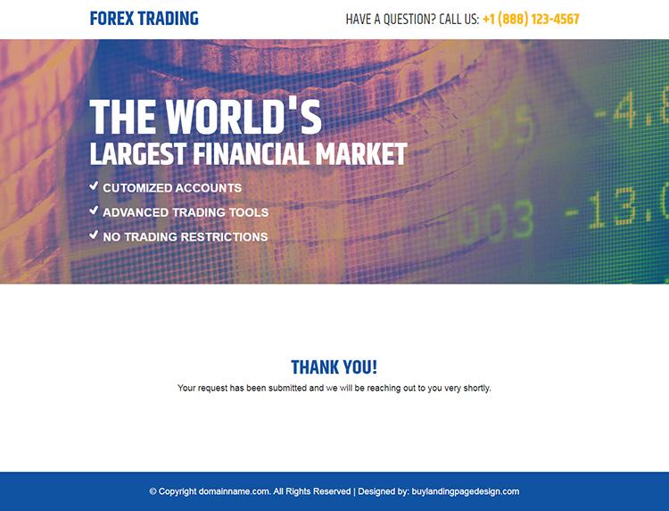 forex trading financial market responsive landing page design