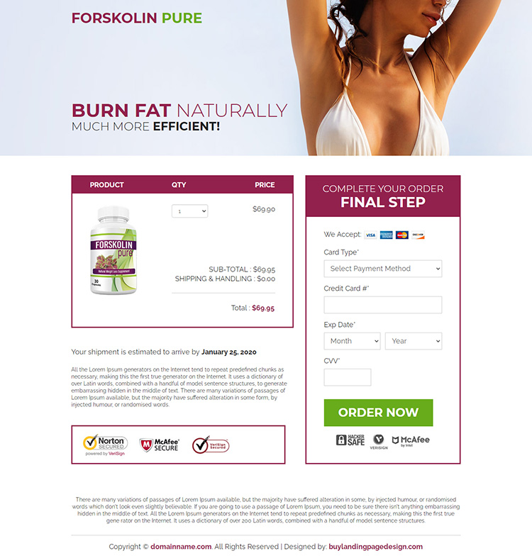 forskolin extract capsules selling responsive landing page design