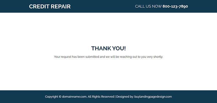 responsive free credit repair consultation landing page