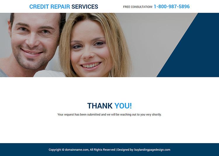 free credit repair consultation responsive landing page design