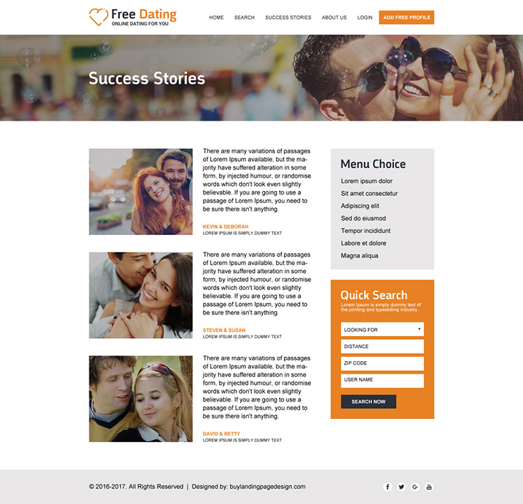free online dating html website template design