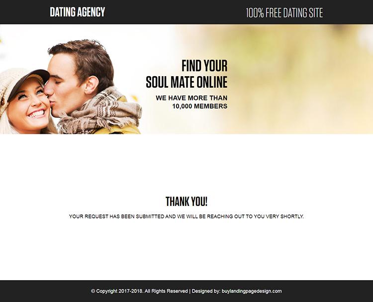 free online dating responsive landing page design