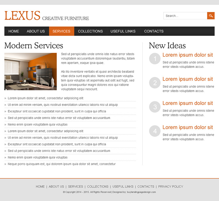interior and furniture responsive website design template