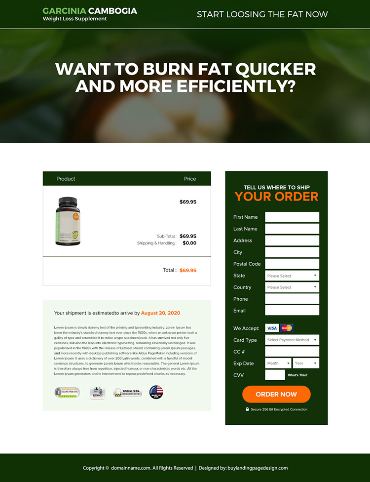 garcinia weight loss supplement responsive landing page