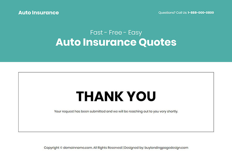 free auto insurance quotes responsive landing page