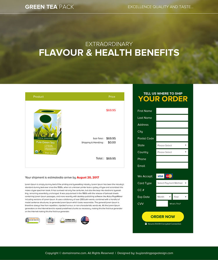 appealing green tea selling best landing page design