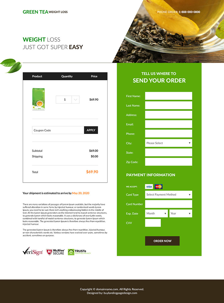 green tea weight loss supplement responsive landing page