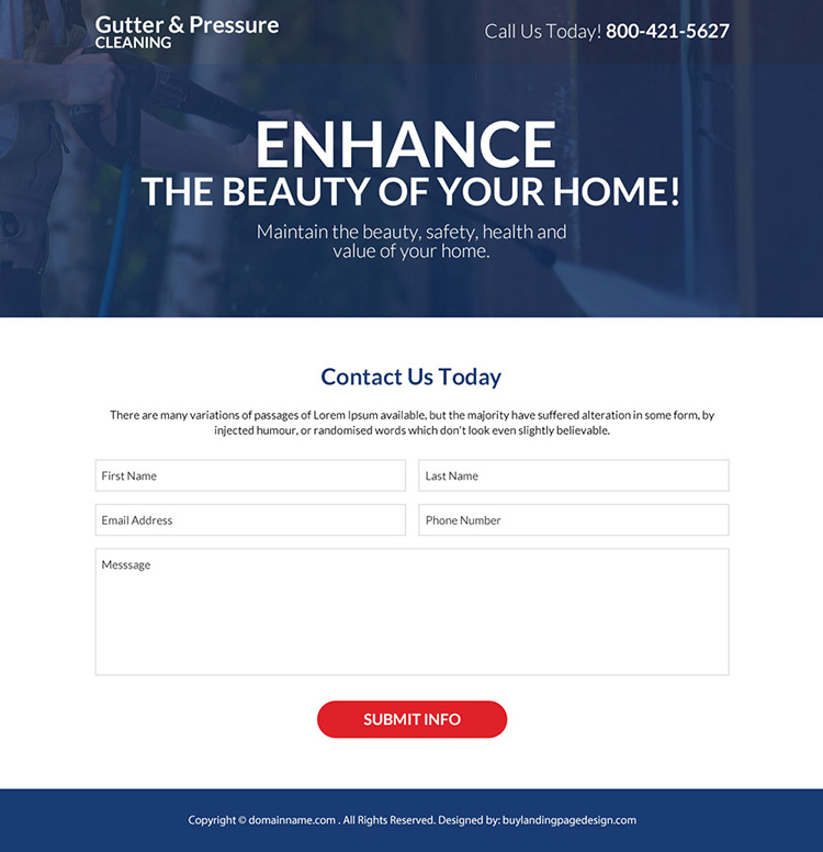gutter and pressure cleaning company responsive landing page