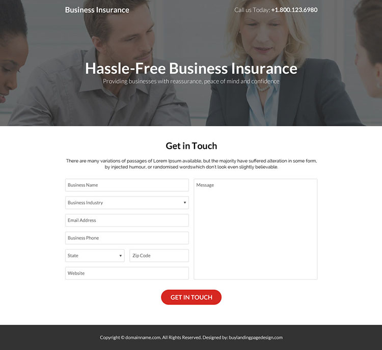 hassle free business insurance responsive landing page