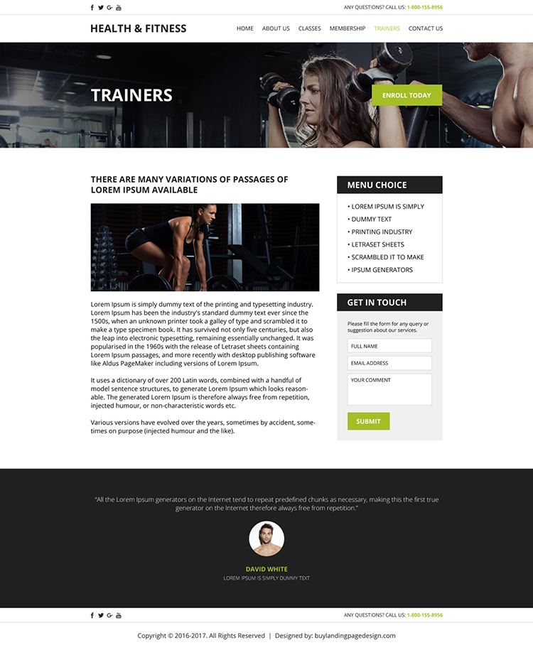 health and fitness html website template