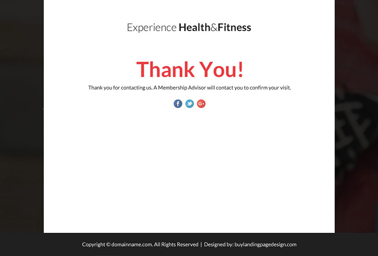 health and fitness solutions lead funnel landing page design