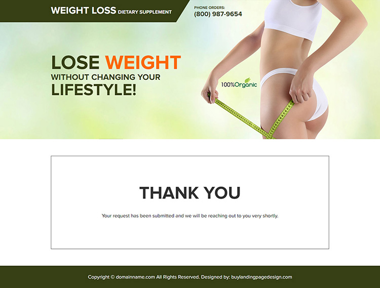 weight loss dietary supplement landing page