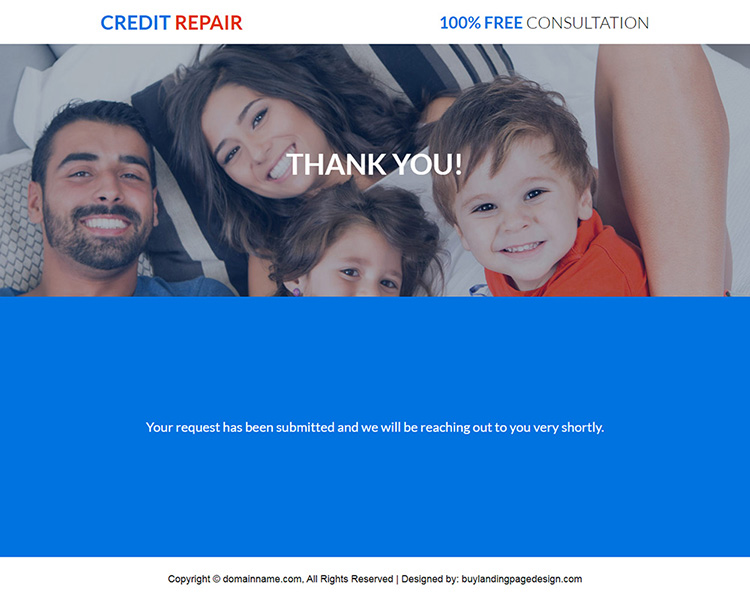 responsive high credit repair consultation landing page design