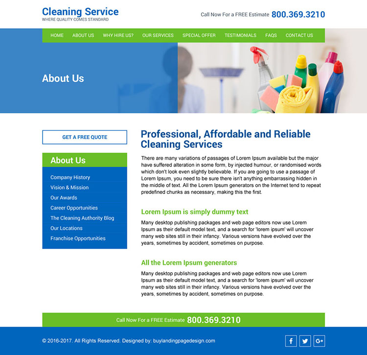 home cleaning services responsive website design