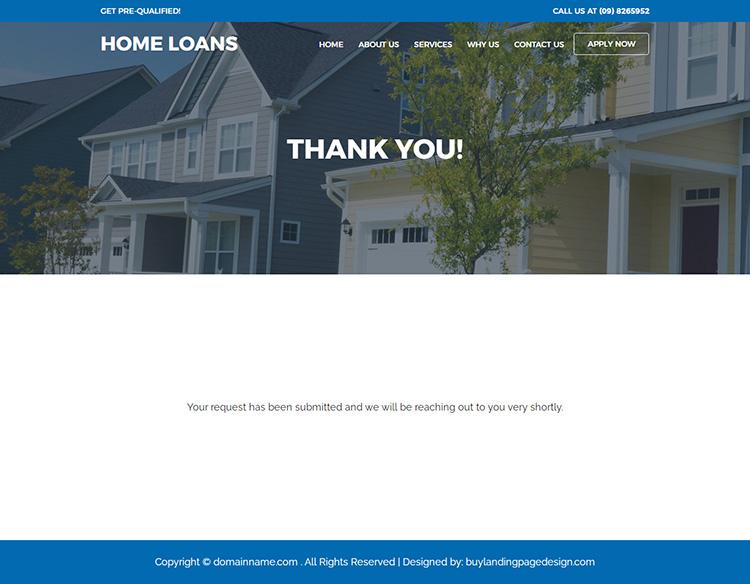 responsive home loan service online application lead capturing website design