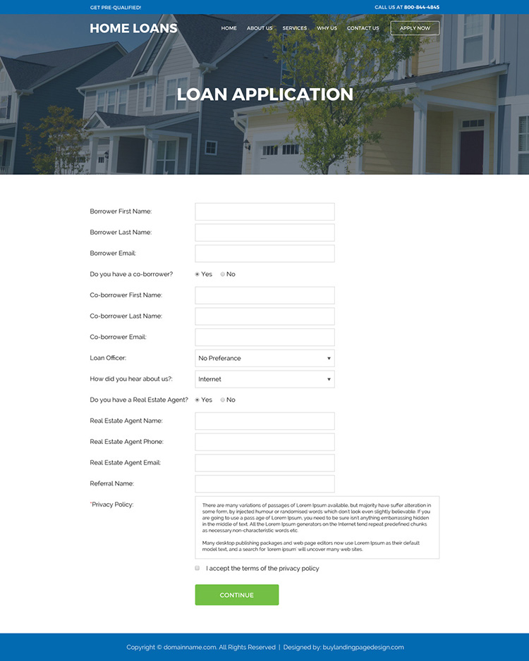 responsive home loan service online application lead capturing website design
