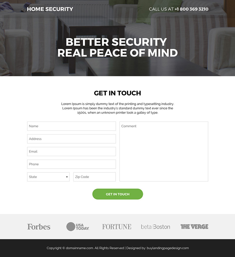 home security systems bootstrap landing page design