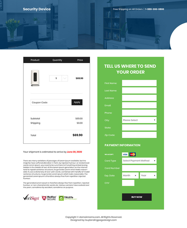 home security and automation device selling responsive landing page