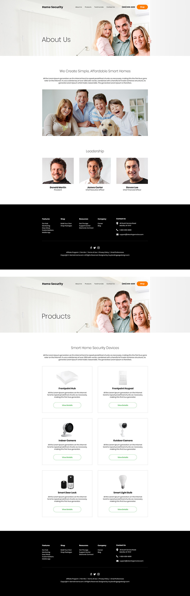 home security products responsive website design