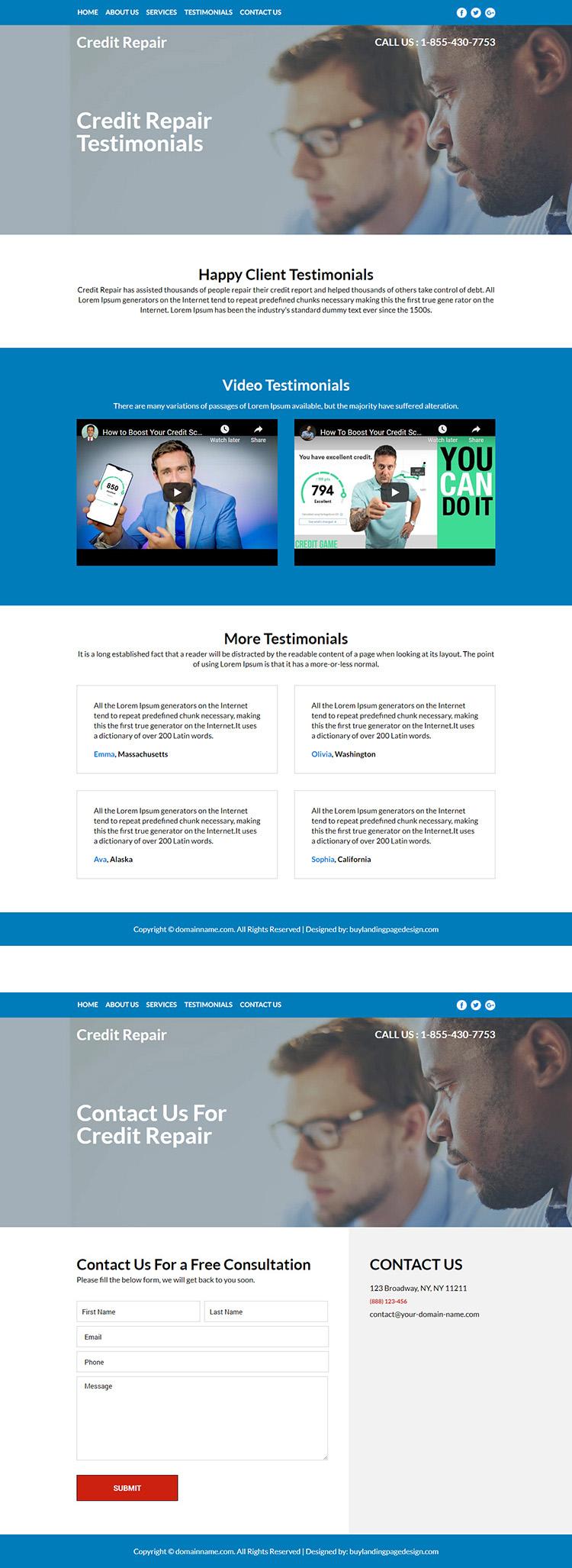 credit repair service responsive website design