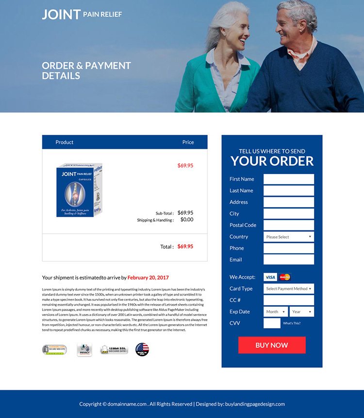 joint pain relief product selling responsive landing page