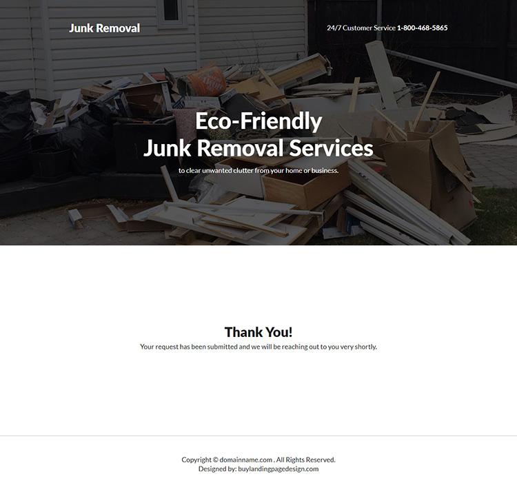 junk removal service responsive landing page design