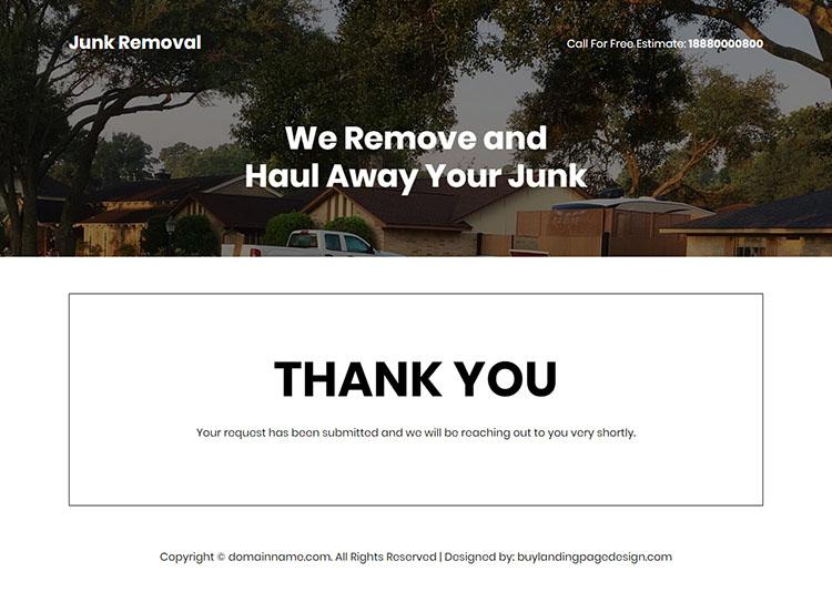junk trash removal lead capture responsive landing page design