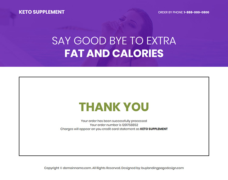 keto supplement responsive weight loss landing page