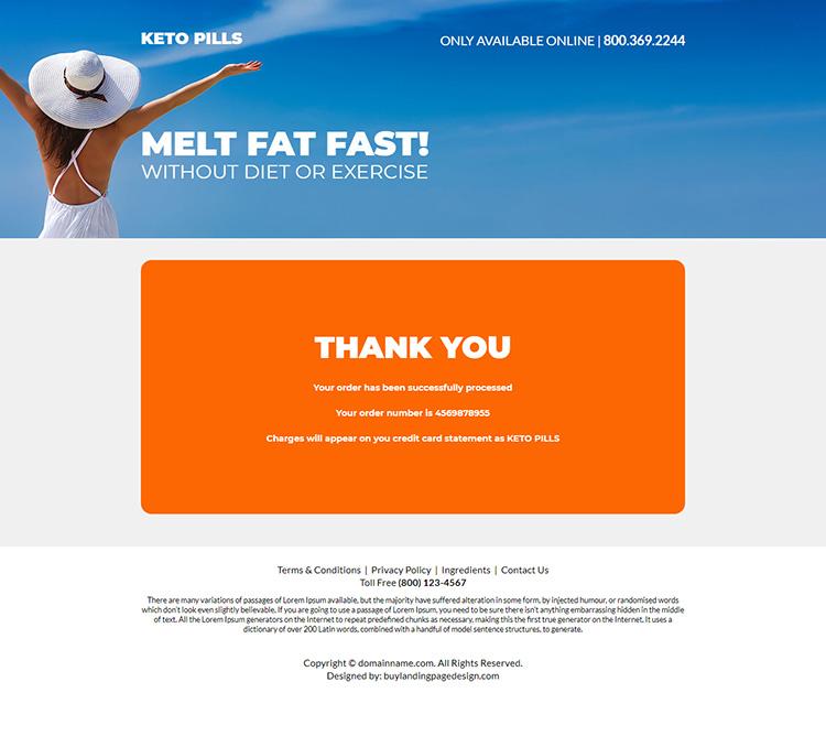 keto pills weight loss responsive landing page design