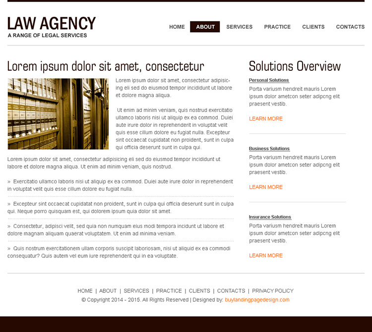clean and minimal looking law agency high converting html website template