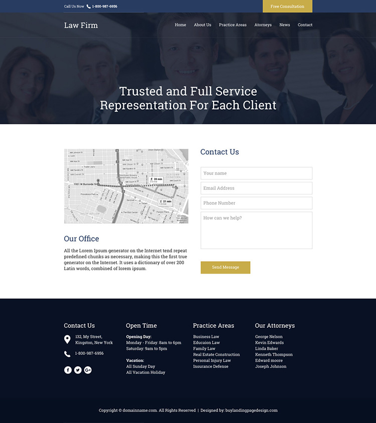 professional law firm free consultation responsive website design