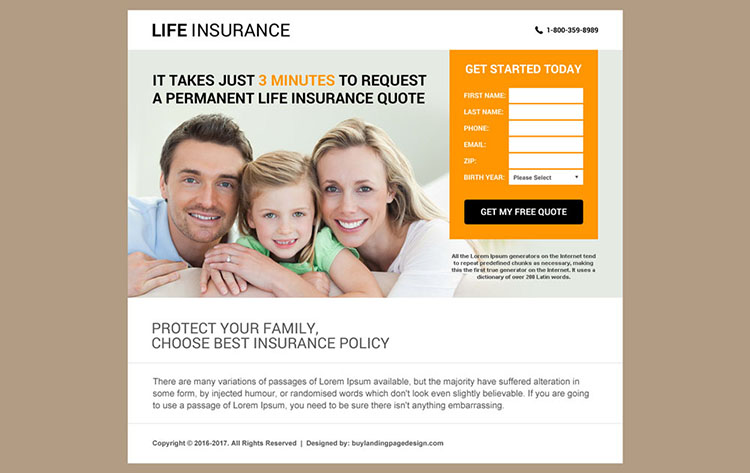 responsive life insurance agency website design template