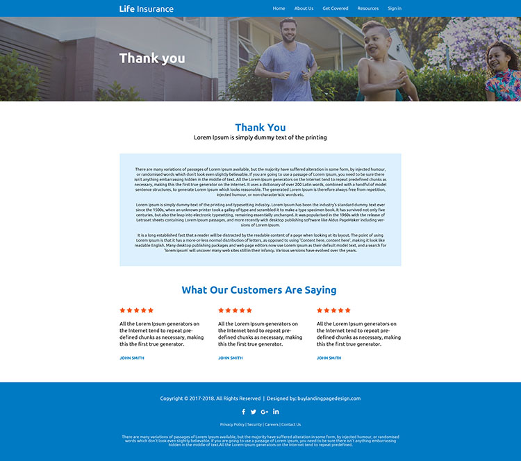 affordable life insurance website design template