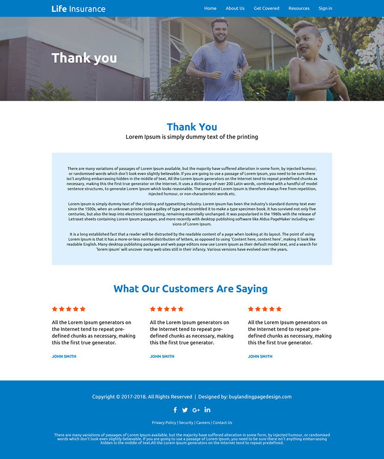 responsive life insurance company free quote lead capturing website design