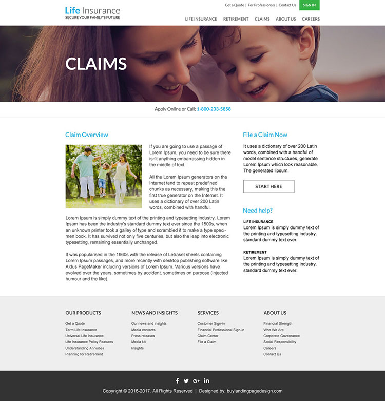 life insurance free quote website design template