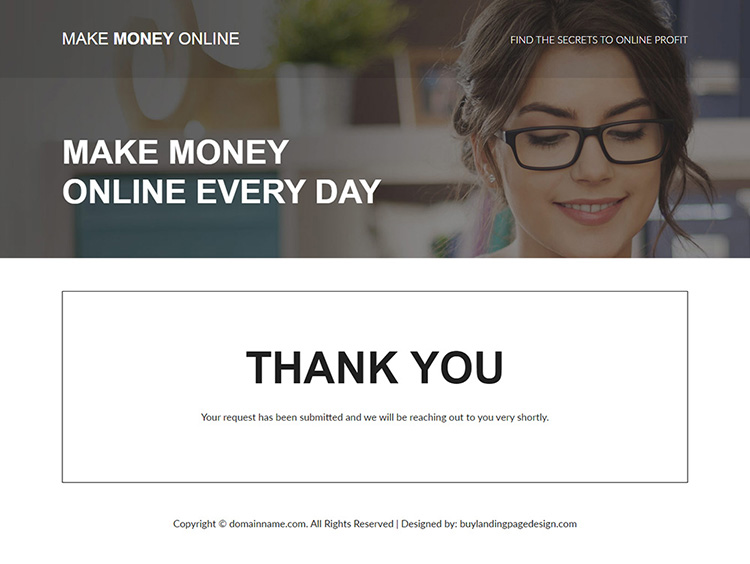 make money online responsive landing page design