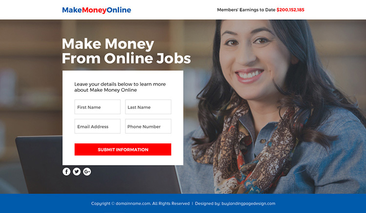 make money from online jobs funnel page design
