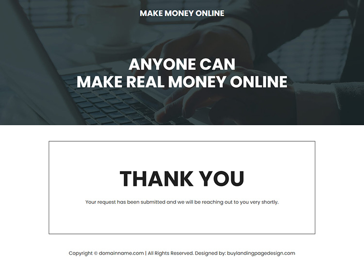 make real money online responsive landing page design