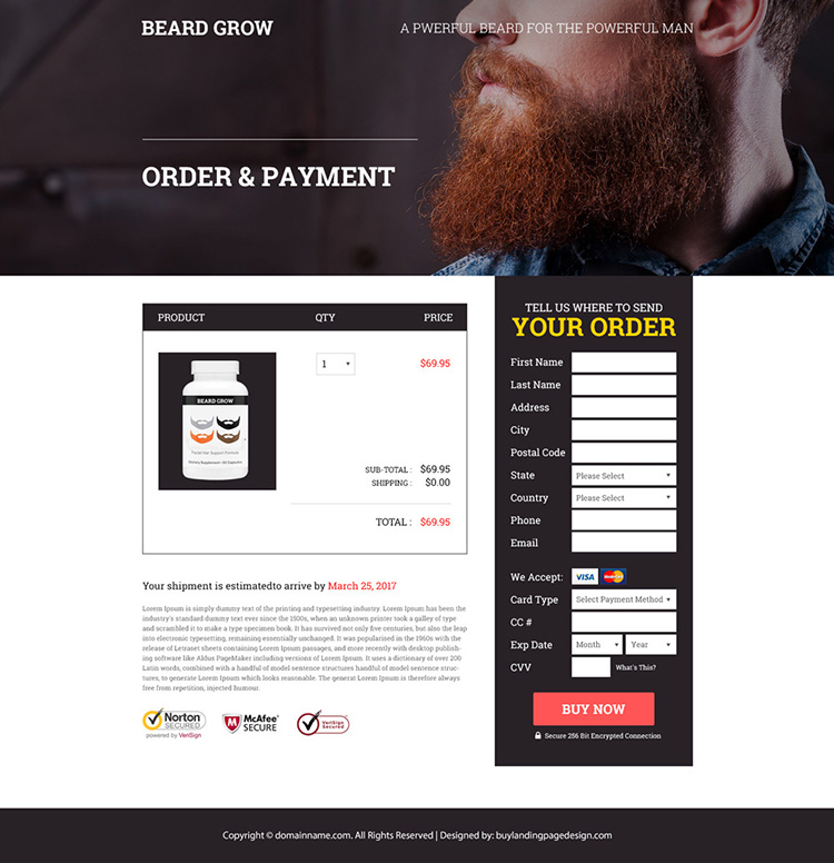 male beard growth product selling responsive landing page